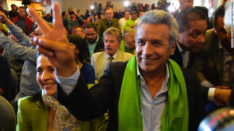Moreno claims win in Ecuador's presidential election