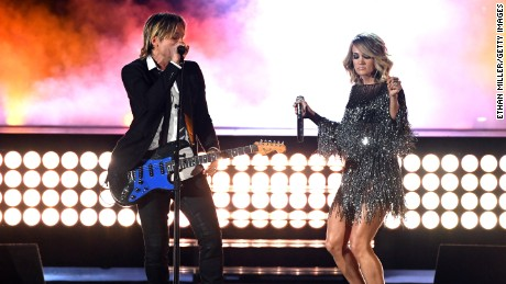 LAS VEGAS, NV - APRIL 02:  Recording artists Keith Urban (L) and Carrie Underwood perform onstage during the 52nd Academy Of Country Music Awards at T-Mobile Arena on April 2, 2017 in Las Vegas, Nevada.  (Photo by Ethan Miller/Getty Images)