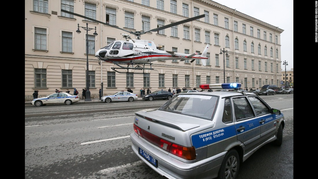 An emergency-response helicopter takes off near the Tekhnologichesky Institut station.