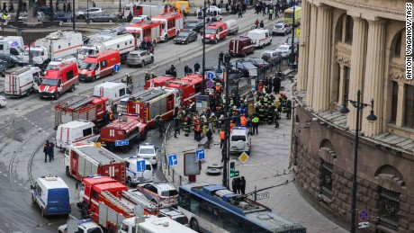 Emergency services arrive near the Tekhnologichesky Institut station Monday.