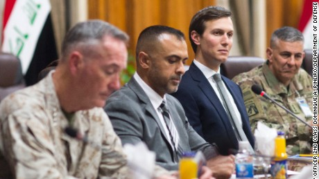 Jared Kushner, Senior Advisor to President Donald J. Trump, sits in on a meeting with Marine Corps Gen. Joseph F. Dunford Jr., chairman of the Joint Chiefs of Staff, at the Ministry of Defense in Baghdad, Iraq, April 3, 2017.