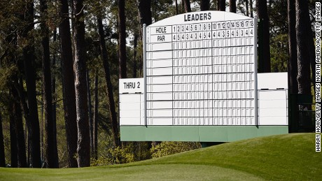 A Masters scoreboard seen here by the third green, where Larry Mize helped out as a boy.