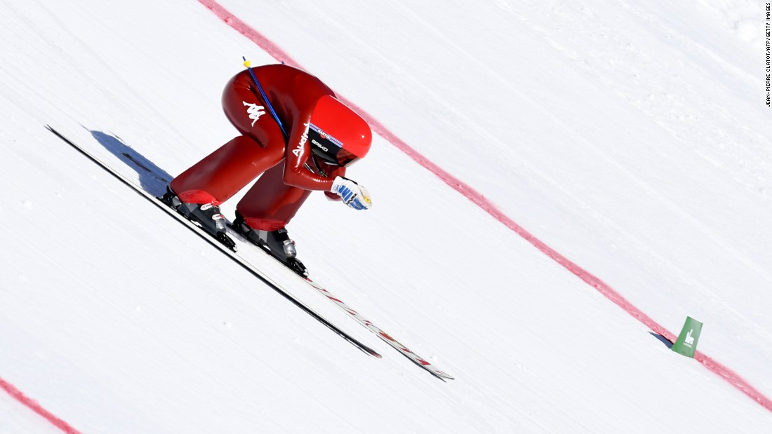 Italian speed skier Ivan Origone races down the Chabriere slope in Vars, France, on Wednesday, March 29.