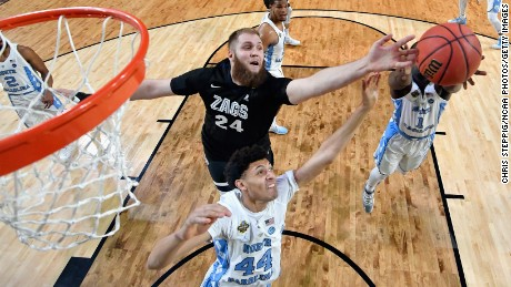GLENDALE, AZ - APRIL 03: Justin Jackson #44 of the North Carolina Tar Heels and Przemek Karnowski #24 of the Gonzaga Bulldogs compete for the ball in the first half during the 2017 NCAA Men's Final Four National Championship game at University of Phoenix Stadium on April 3, 2017 in Glendale, Arizona.  (Photo by Chris Steppig - Pool/NCAA Photos via Getty Images)