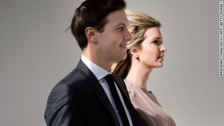 Ivanka Trump and her husband White House senior advisor Jared Kushner arrive for a joint press conference between US President Donald Trump and Japan's Prime Minister Shinzo Abe in the East Room of the White House in Washington, DC on February 10, 2017. / AFP / Brendan Smialowski        (Photo credit should read BRENDAN SMIALOWSKI/AFP/Getty Images)