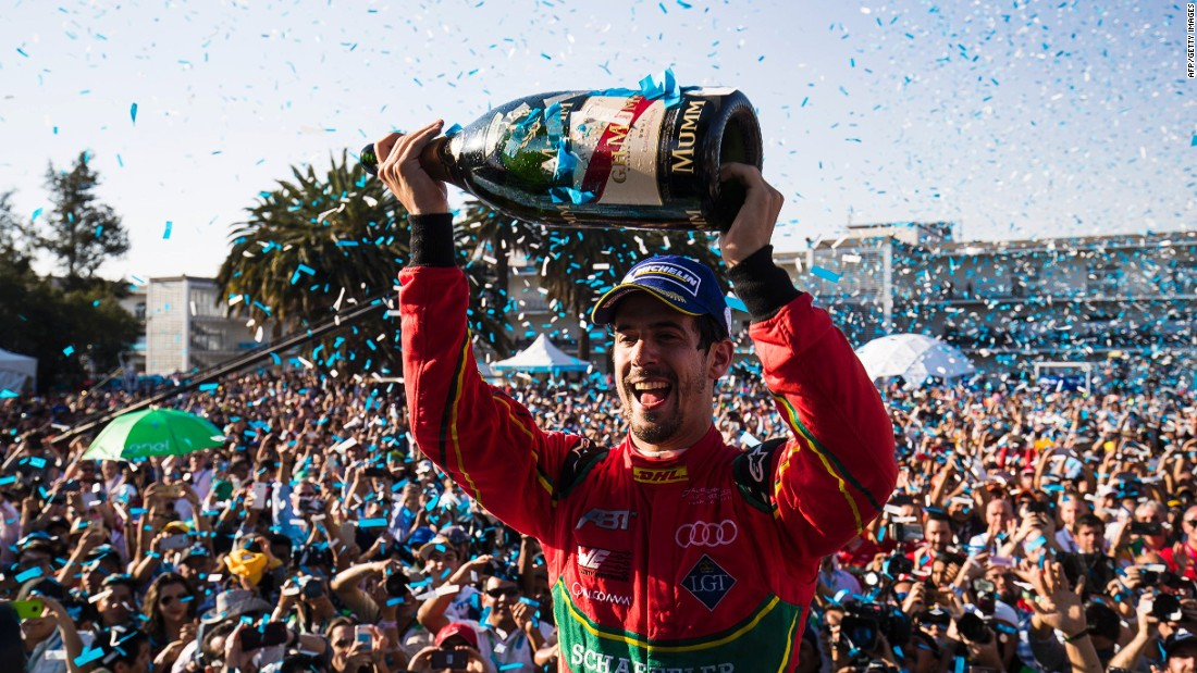 "Di Grassi celebrates on the podium after a stunning win. At one point di Grassi was running in last place but still managed to take the checkered flag. <br /><br />""The race at Mexico showed what Formula E is all about -- on track and around the racing itself. The fans are amazing,"" di Grassi told CNN."