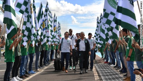 Members of the Colombian football team Atletico Nacional are honored upon their arrival in Chapeco, Santa Catarina, southern Brazil on April 03, 2017, on the eve of the first match against Brazilian team Chapecoense for the Recopa Sudamericana. / AFP PHOTO / NELSON ALMEIDA        (Photo credit should read NELSON ALMEIDA/AFP/Getty Images)