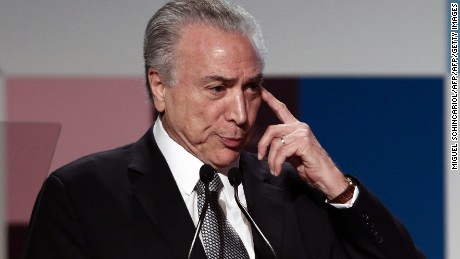Brazil's President Michel Temer delivers a speech, during the Global Child Forum on South America inauguration ceremony, at Sao Paulo's Industry Federation (FIESP) building, in Sao Paulo, Brazil on April 04, 2017. / AFP PHOTO / Miguel SCHINCARIOL        (Photo credit should read MIGUEL SCHINCARIOL/AFP/Getty Images)