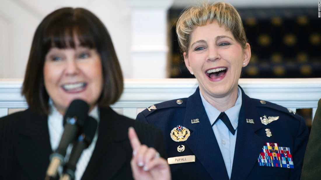 US Air Force Col. Michelle Pufall, right, reacts as Karen Pence, wife of Vice President Mike Pence, announces that it is Pufall's birthday on Thursday, March 23. Pufall and other female service members were being recognized in Washington as part of Women's History Month.