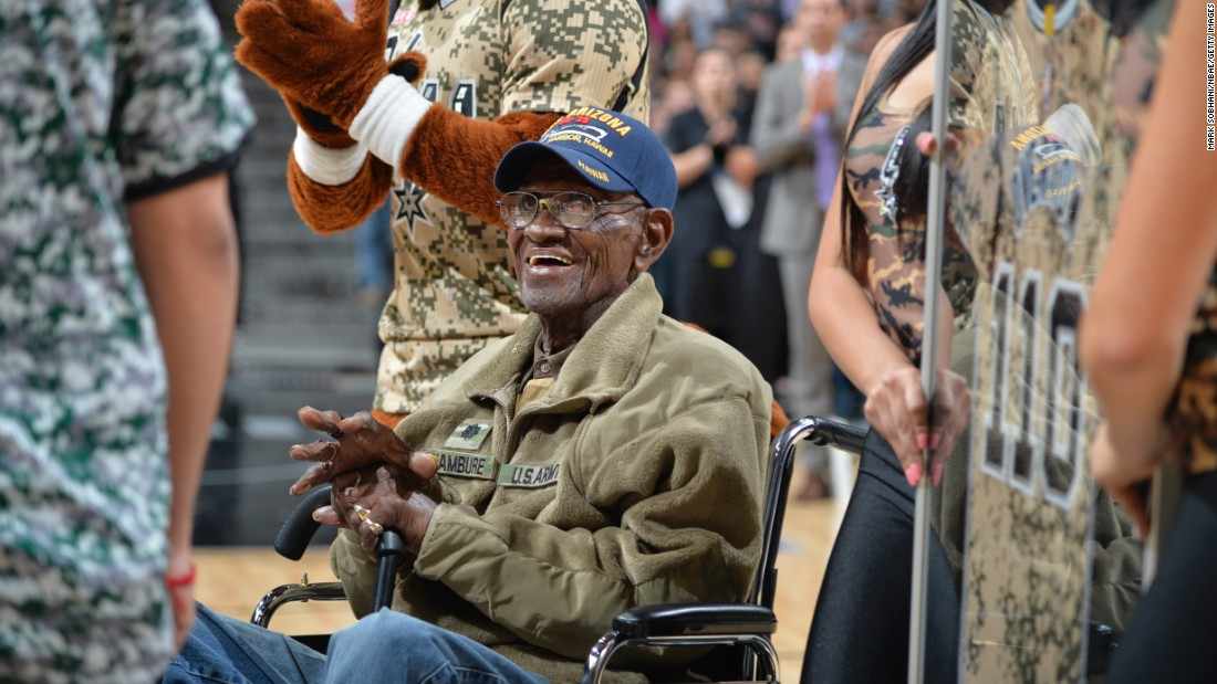 The NBA's San Antonio Spurs honor Richard Overton, the oldest-living US veteran, during their Military Appreciation Night on Thursday, March 23. Overton is 110 years old.