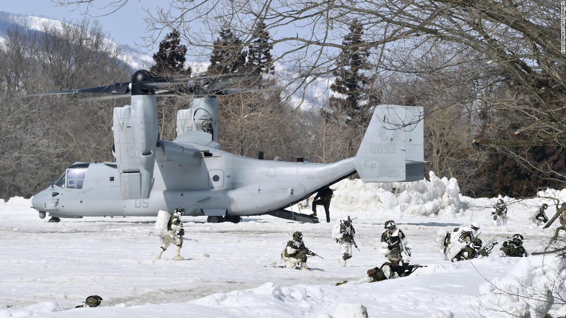 A Marine Corps Osprey aircraft takes part in a military exercise in Japan's Niigata Prefecture on Monday, March 13.