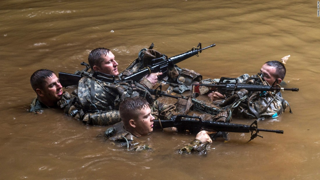 US soldiers participate in jungle warfare training at Schofield Barracks in Hawaii on Wednesday, March 1.