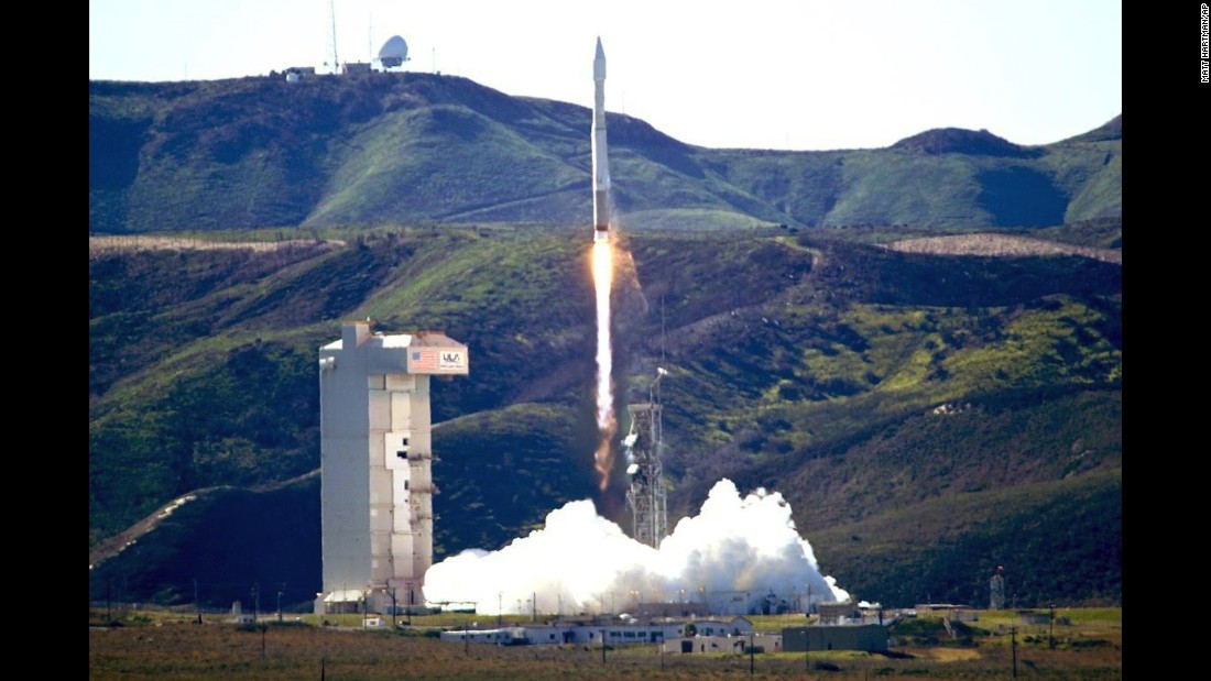 An Atlas 5 rocket launches from California's Vandenberg Air Force Base on Wednesday, March 1. The rocket was carrying a classified US satellite that was described only as a national security payload for the National Reconnaissance Office.