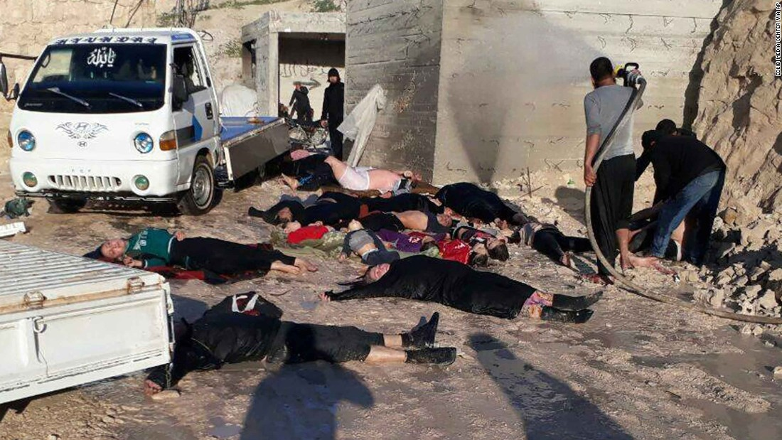 This photo provided by the Idlib Media Center shows victims of the suspected attack.