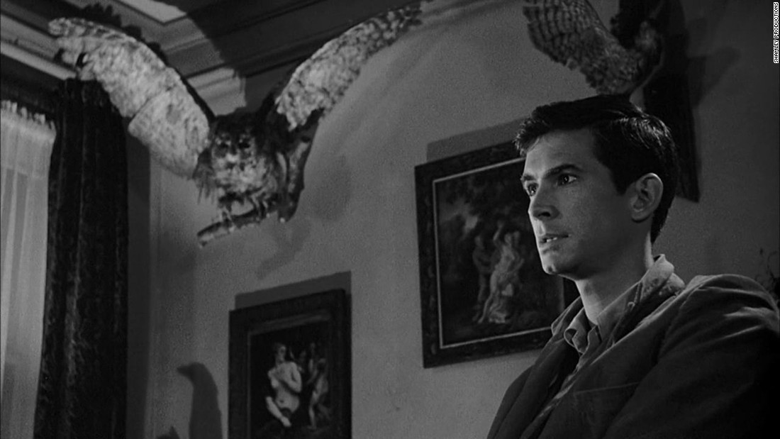 "Anthony Perkins plays Norman Bates, a knife-wielding serial killer, in Alfred Hitchcock's ""Psycho."""