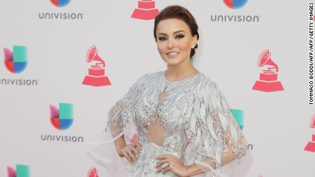 Singer Angelique Boyer arrives for the 17th Annual Latin Grammy Awards on November 17, 2016, in Las Vegas, Nevada.  / AFP / Tommaso Boddi        (Photo credit should read TOMMASO BODDI/AFP/Getty Images)
