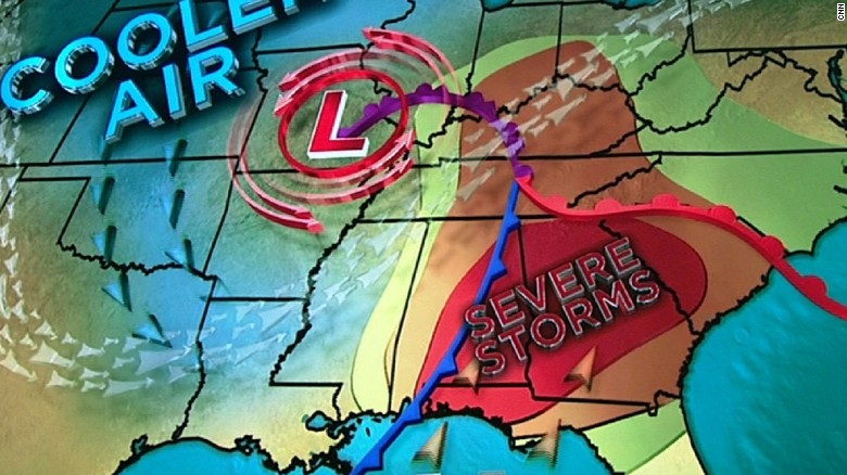 Severe weather threatens southeastern US