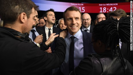 "Presidential candidate for the ""En Marche!"" movement Emmanuel Macron at the end of a TV debate."