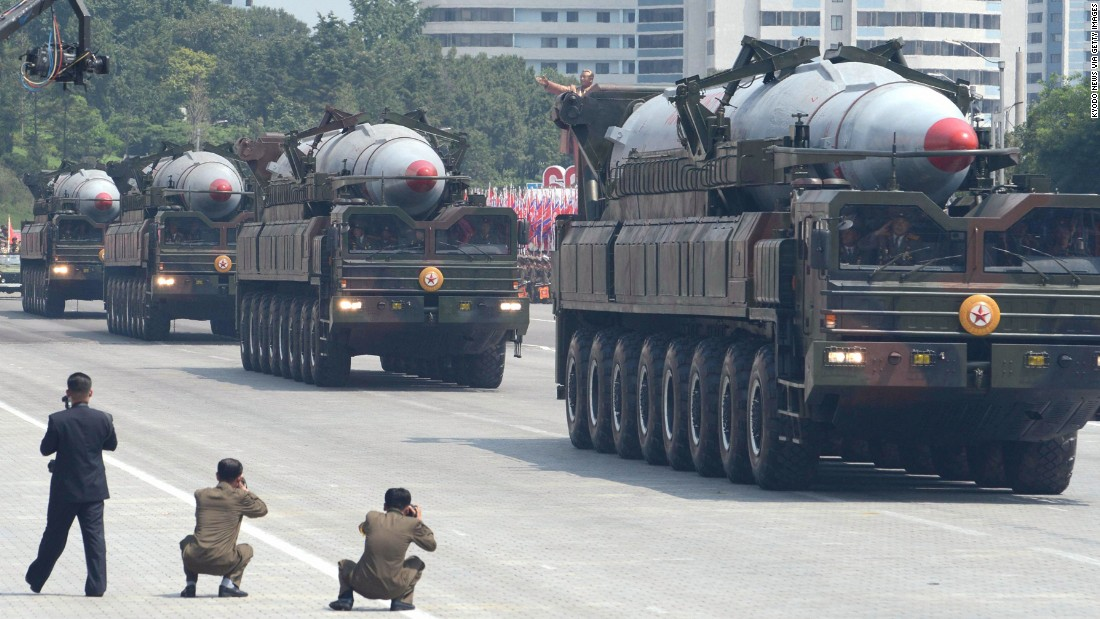Trucks carrying what are believed to be KN-08 ballistic missiles in a July 2013 military parade.