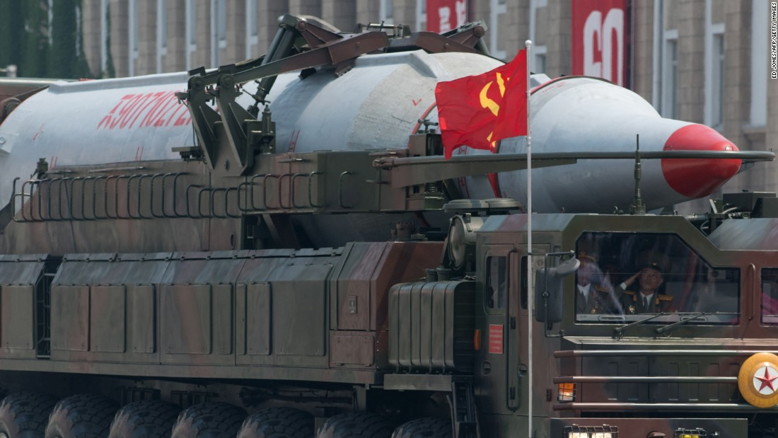 A North Korean Taepodong-class missile is displayed during a military parade past Kim Il Sung square marking the 60th anniversary of the Korean war armistice in Pyongyang on July 27, 2013.