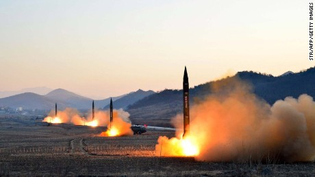 TOPSHOT - This undated picture released by North Korea's Korean Central News Agency (KCNA) via KNS on March 7, 2017 shows the launch of four ballistic missiles by the Korean People's Army (KPA) during a military drill at an undisclosed location in North Korea.