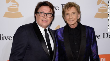 BEVERLY HILLS, CA - FEBRUARY 14:  Garry Kief (L) and singer Barry Manilow attend the 2016 Pre-GRAMMY Gala and Salute to Industry Icons honoring Irving Azoff at The Beverly Hilton Hotel on February 14, 2016 in Beverly Hills, California.  (Photo by Kevork Djansezian/Getty Images)