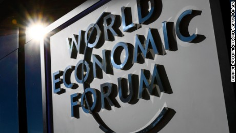 A sign of the World Economic Forum, is seen on the closing day of the forum, on January 20, 2017 in Davos. / AFP / FABRICE COFFRINI        (Photo credit should read FABRICE COFFRINI/AFP/Getty Images)