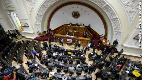 "Genreal view of the Venezuelan National Assembly during the discussion on Supreme Court judges removal process, at the National Assembly in Caracas on April 5, 2017.  Protesters clashed with police in Venezuela Tuesday as the opposition mobilized against moves to tighten President Nicolas Maduro's grip on power and vowed to continue demonstrations. ""We're going to continue to fill the streets to defend democracy and the right to vote,"" Julio Borges, National Assembly president and a long-time opposition leader, told reporters. / AFP PHOTO / FEDERICO PARRA        (Photo credit should read FEDERICO PARRA/AFP/Getty Images)"
