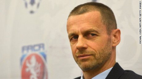 UEFA President Aleksander Ceferin addresses a press conference with President of Czech Football Association Miroslav Pelta (unseen) on March 21, 2017 in Prague.   / AFP PHOTO / Michal Cizek        (Photo credit should read MICHAL CIZEK/AFP/Getty Images)