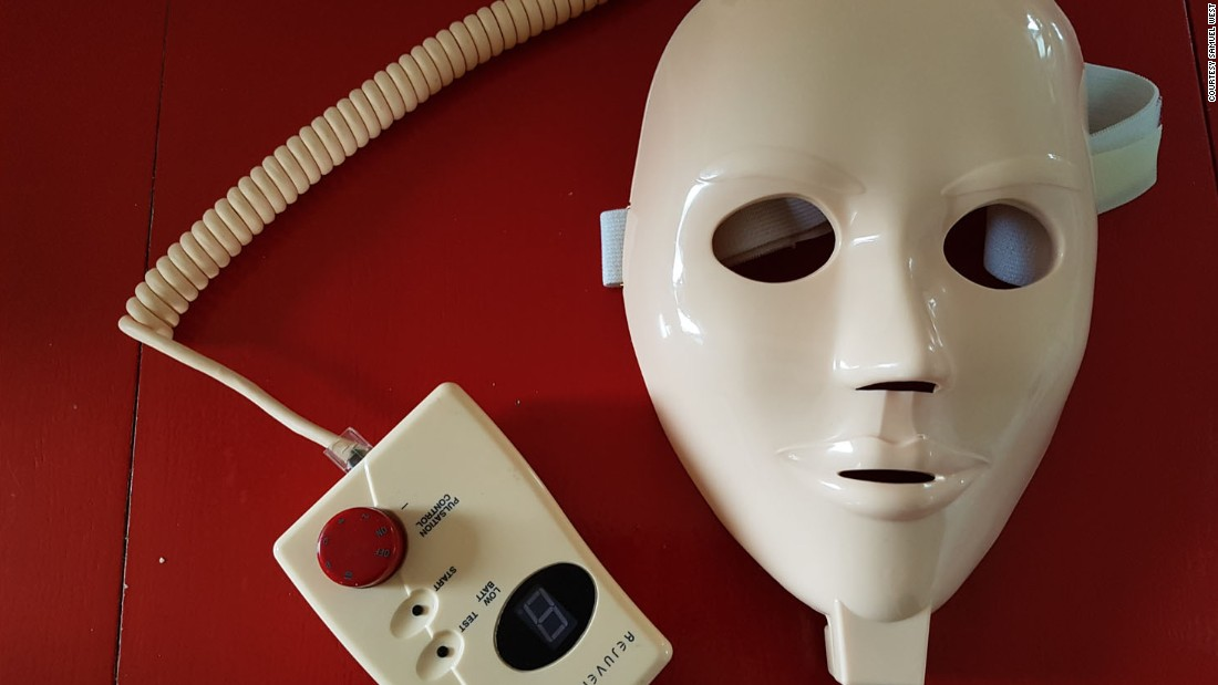 This facial mask was marketed as a device to make the wearer more beautiful. It gives the user's face small electric shocks.