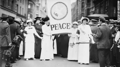 Women march for peace down New York's Fifth Avenue in 1914. A surge of anti-war activism empowered women during World War I.