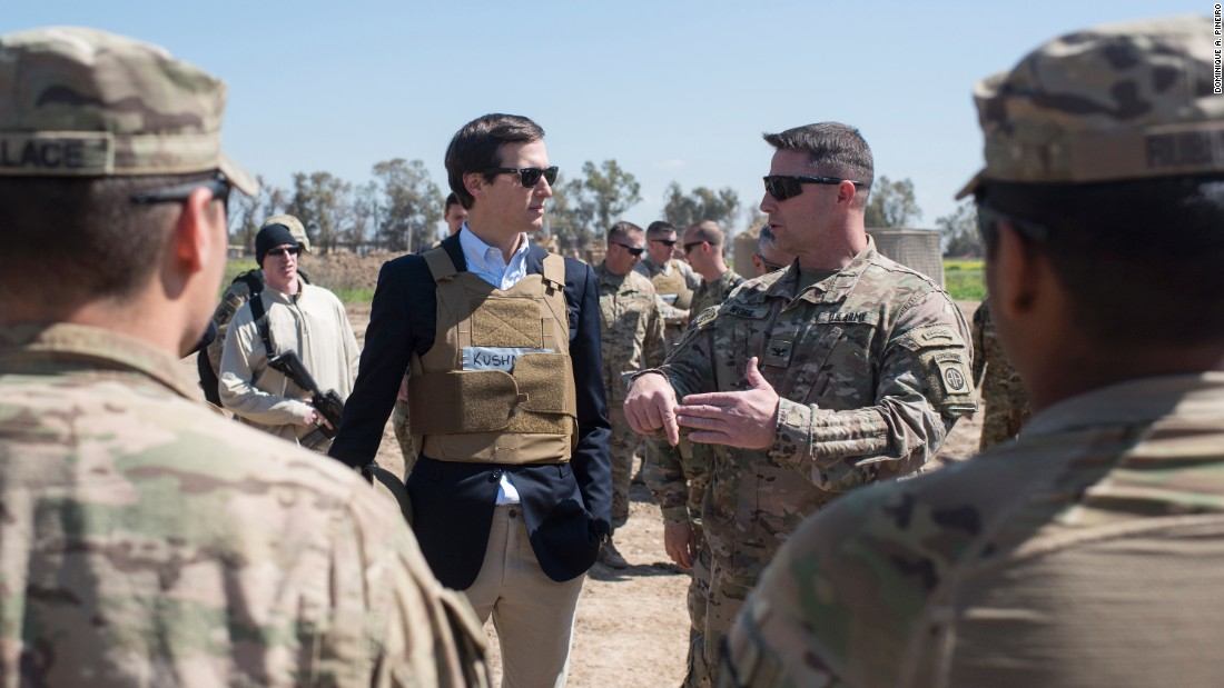 "Jared Kushner, a senior adviser to President Donald Trump, chats with a US service member in Iraq on Tuesday, April 4. Kushner, who is also Trump's son-in-law, <a href=""http://www.cnn.com/2017/04/02/politics/jared-kushner-iraq/index.html"" target=""_blank"">was invited to Iraq</a> by Joseph Dunford, the chairman of the Joint Chiefs of Staff."