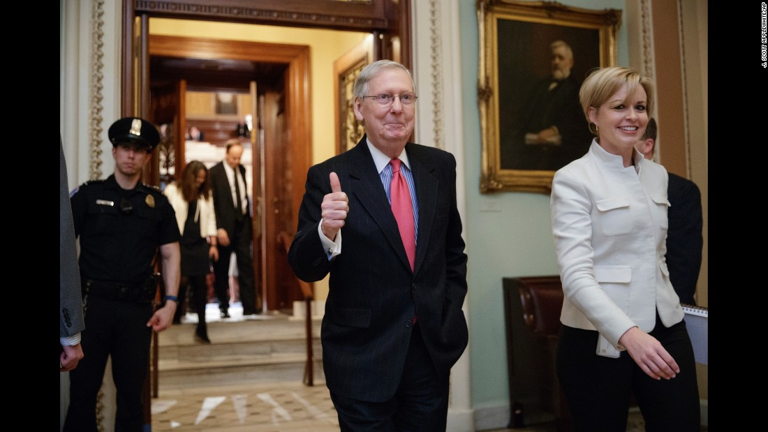 "Senate Majority Leader Mitch McConnell gives a thumbs-up after leaving the Senate chamber in Washington on Thursday, April 6. The Senate <a href=""http://www.cnn.com/2017/04/06/politics/senate-nuclear-option-neil-gorsuch/index.html"" target=""_blank"">triggered the ""nuclear option""</a> that allowed Republicans to break a Democratic filibuster of Supreme Court nominee Neil Gorsuch. The controversial changes to Senate rules, made along partisan lines, allows filibusters of Supreme Court picks to be broken with only 51 votes rather than 60."