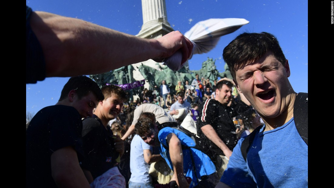 Young people in Budapest, Hungary, celebrate International Pillow Fight Day on Saturday, April 1.