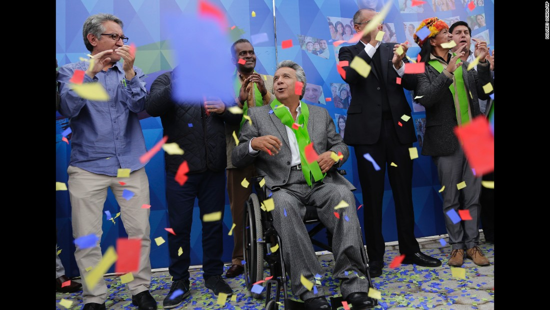 "Ecuadorian President-elect Lenin Moreno, in the wheelchair, celebrates his electoral victory on Tuesday, April 4. The leftist candidate <a href=""http://www.cnn.com/2017/04/03/americas/ecuador-national-elections/"" target=""_blank"">narrowly defeated</a> conservative opponent Guillermo Lasso."