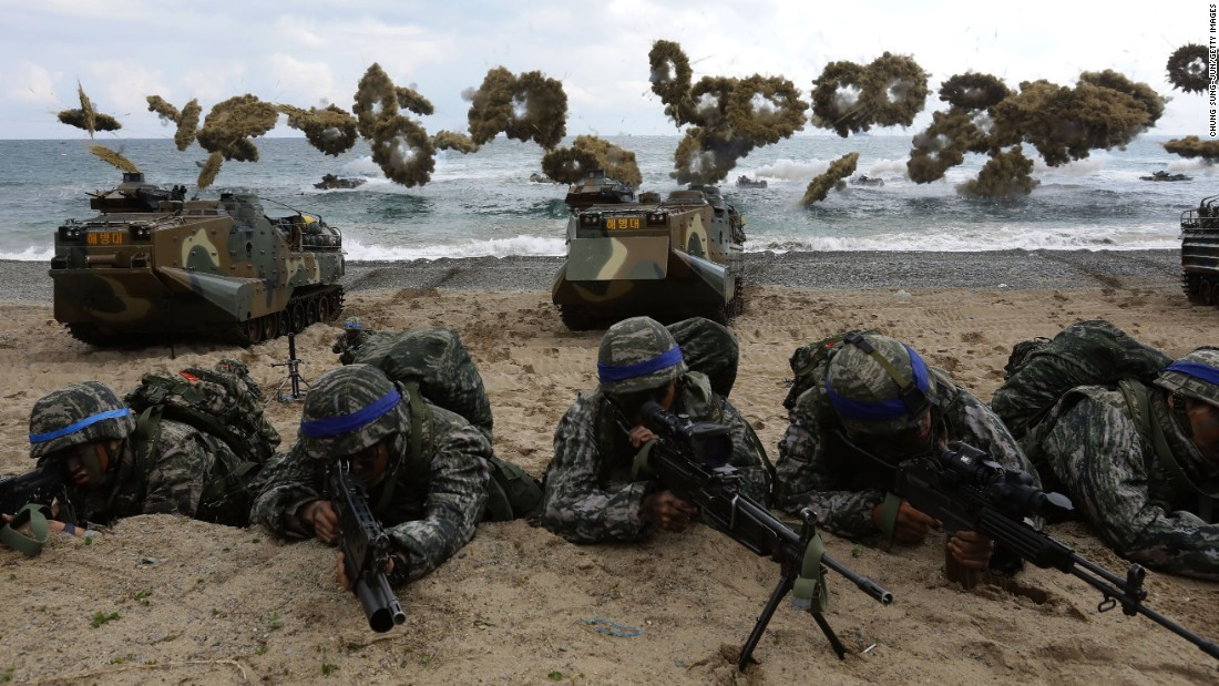 South Korean Marines participate in a military exercise on the Pohang seashore on Sunday, April 2. It was part of Foal Eagle, a joint military exercise with US troops.