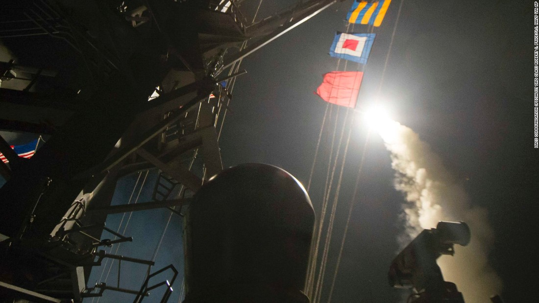 "In this image provided by the US Navy, the USS Ross fires a Tomahawk cruise missile from the Mediterranean Sea on Friday, April 7. On the orders of President Donald Trump, <a href=""http://www.cnn.com/2017/04/06/politics/donald-trump-syria-military/index.html"" target=""_blank"">US warships launched between 50-60 Tomahawk missiles</a> at a Syrian government airbase. US officials said the base was home to warplanes that carried out a chemical attack against civilians earlier in the week."