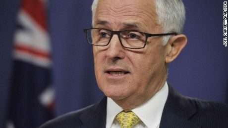 Australian Prime Minister Malcolm Turnbull speaks during a press conference on the Syria missile strikes.