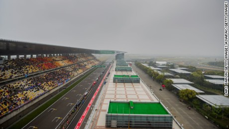 Low clouds hang over the Shanghai International Circuit.