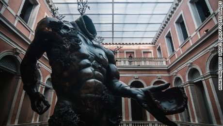 VENICE, ITALY - APRIL 06:  A sculpture from the Damien Hirst's exhibition 'Treasures From The Wreck Of The Unbelievable' is seen at Palazzo Grassi on April 6, 2017 in Venice, Italy. Damien Hirst is back with a new exhibition in the city of Venice which will open on April 9th.  (Photo by Awakening/Getty Images)