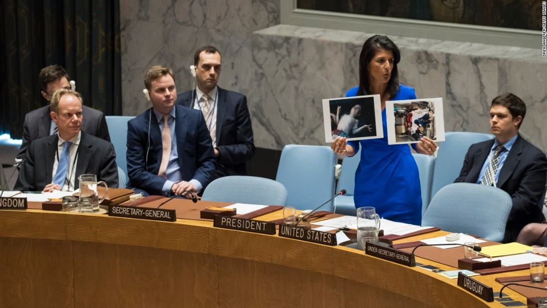 "During a meeting of the United Nations Security Council on Wednesday, April 5, US Ambassador Nikki Haley holds up photos of children who were killed in the <a href=""http://www.cnn.com/2017/04/04/middleeast/gallery/syria-suspected-chemical-attack/index.html"" target=""_blank"">suspected chemical attack in Syria.</a> Dozens of people were killed, according to multiple activist groups. ""When the United Nations consistently fails in its duty to act collectively, there are times in the life of states that we are compelled to take our own action,"" Haley said. ""For the sake of the victims, I hope the rest of the council is finally willing to do the same."""
