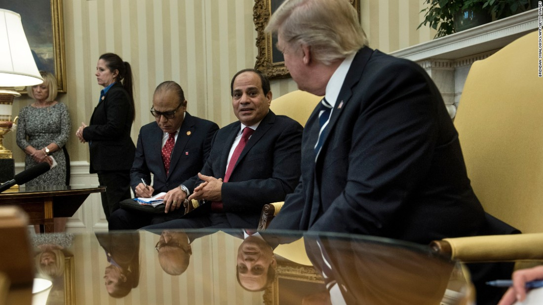 "Egyptian President Abdel Fattah al-Sisi faces Trump in the Oval Office as they make statements to the press on Monday, April 3. Trump <a href=""http://www.cnn.com/2017/04/03/politics/donald-trump-abdul-fattah-al-sisi-egypt/"" target=""_blank"">warmly welcomed his Egyptian counterpart</a> in a visit that's meant to signal a shift in the US approach to Egypt."