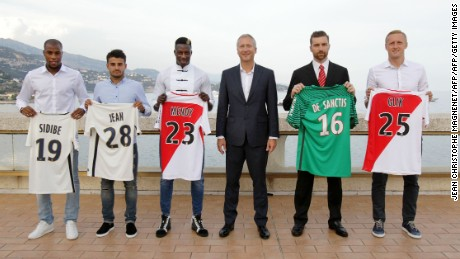 Vadim Vasilyev (C) is pictured with Djibril Sidibe, Corentin Jean, Benjamin Mendy, Morgan de Sanctis and Kamil Glik in August 2016.