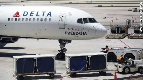 A Delta airlines plane is seen on the tarmac of the Fort Lauderdale-Hollywood International Airport on July 14, 2016 in Fort Lauderdale, Florida.