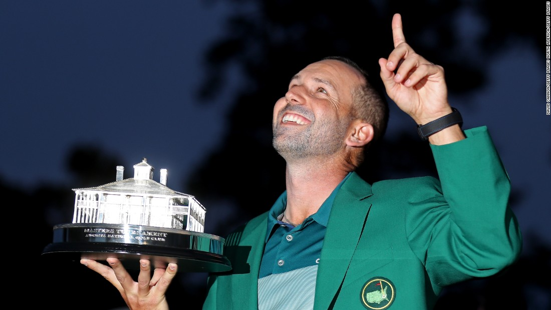 Sergio Garcia with the Masters trophy. The Spaniard's first major win came on what would have been Seve Ballesteros' 60th birthday. Ballesteros, a two-time winner at Augusta National, died of cancer in May 2011 aged 54.