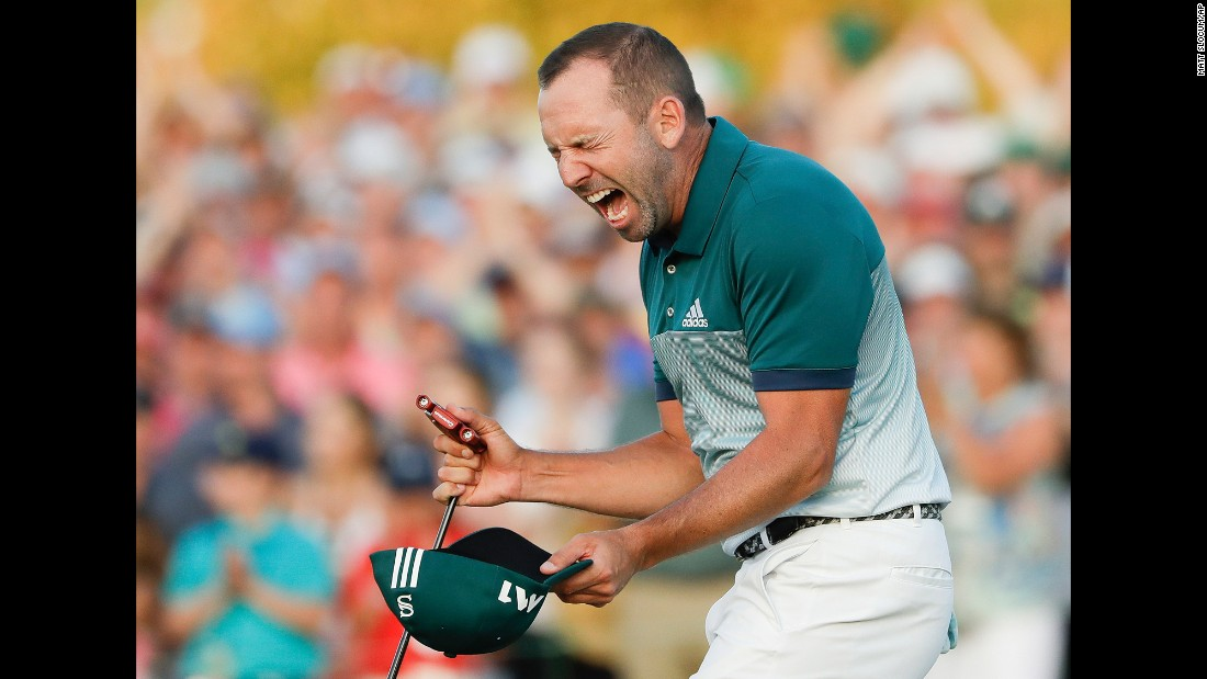 "Sergio Garcia reacts after winning the Masters golf tournament on Sunday, April 9. It is <a href=""http://www.cnn.com/2017/04/09/sport/masters-2017-augusta-round-four/index.html"" target=""_blank"">the first major title for Garcia,</a> who defeated Justin Rose in a playoff."
