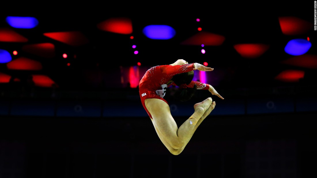 American gymnast Victoria Nguyen competes on the balance beam during a World Cup meet in London on Saturday, April 8. She won silver in the all-around.