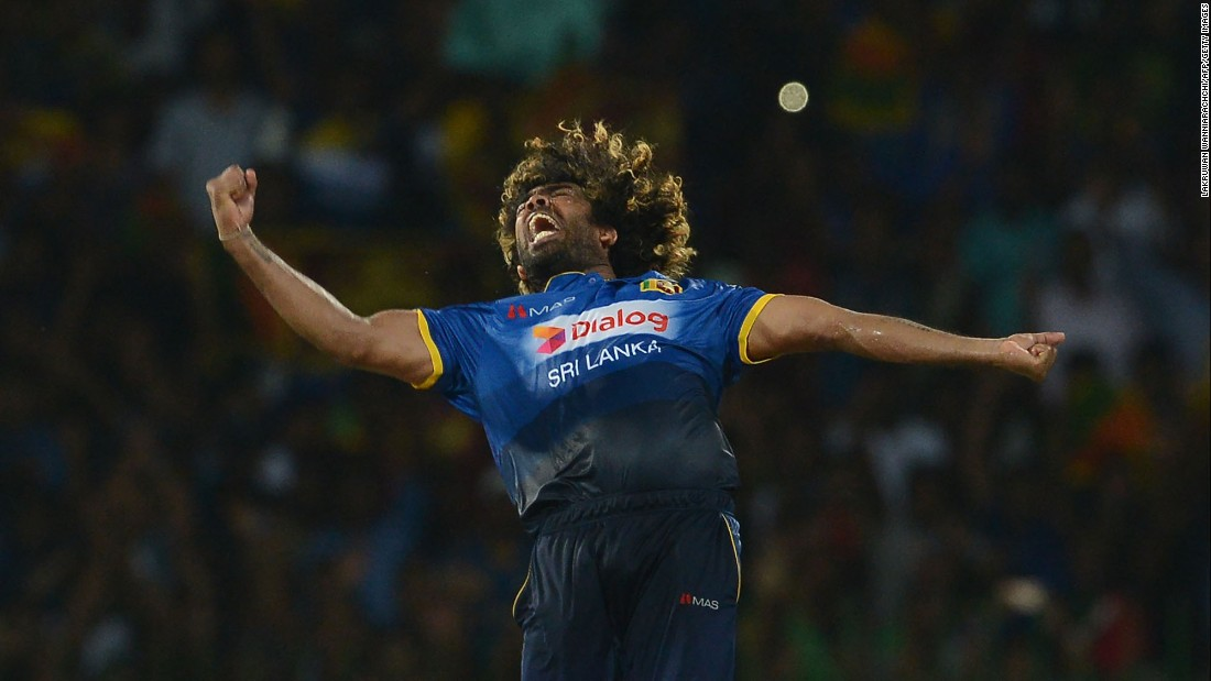 Sri Lankan cricketer Lasith Malinga celebrates a hat trick during a T20 international against Bangladesh on Thursday, April 6.