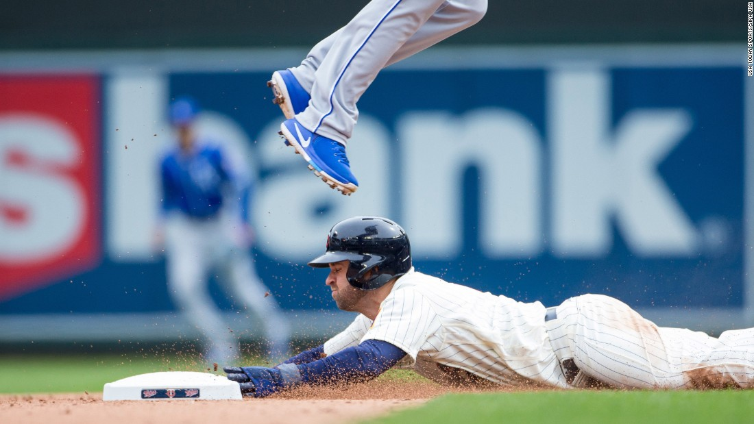 Minnesota's Brian Dozier steals second base during a home game against Kansas City on Wednesday, April 5.