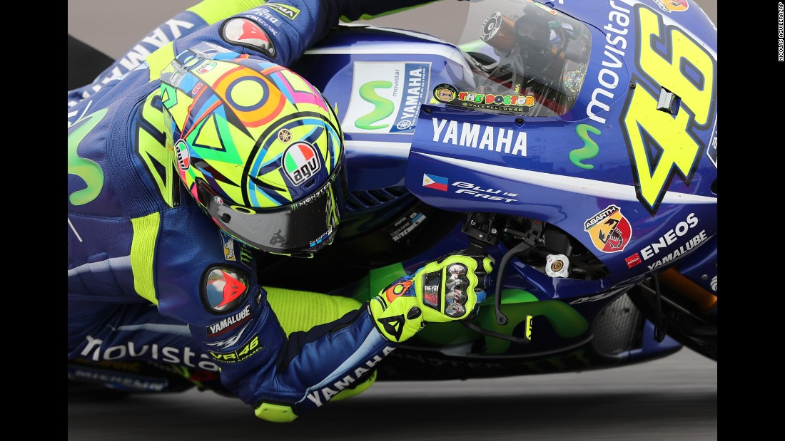 Valentino Rossi rides his Yamaha motorcycle during the MotoGP race in Argentina on Sunday, April 9.
